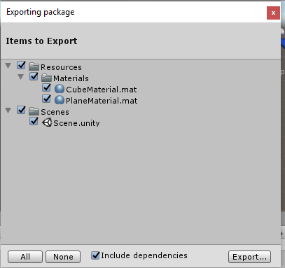 Export and Import Unity Package - ExportWindow