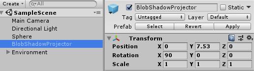 Create fake shadow using blob shadow projector: Unity